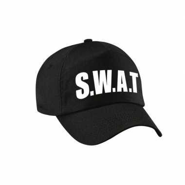 Originele zwarte swat team politie agent verkleed pet / cap kinderen carnavalskleding