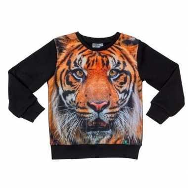 Originele zwarte sweater tijger kinderen carnavalskleding