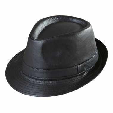 Originele zwarte trilby hoed lederlook volwassenen carnavalskleding
