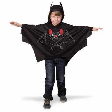 Originele zwarte vleermuis verkleed cape kinderen carnavalskleding