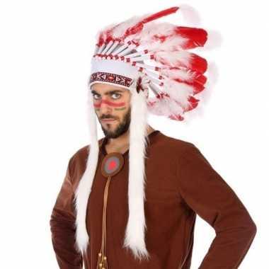 Wit/rode originele indianen tooi heren carnavalskleding