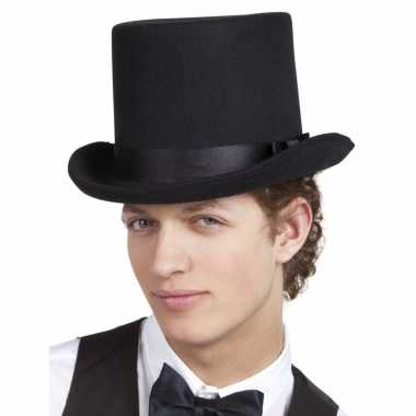 Zwarte originele hoge hoed heren carnavalskleding