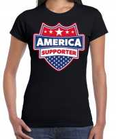 Originele amerika america schild supporter t-shirt zwart dames carnavalskleding