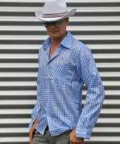 Originele blauw cowboy overhemd ruitjes carnavalskleding