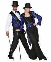 Originele blauw glitter vestje heren carnavalskleding