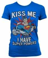 Originele blauw superman girly t shirt carnavalskleding