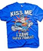 Originele blauw superman heren t shirt carnavalskleding
