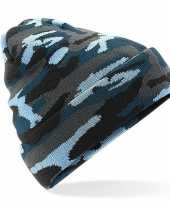 Originele blauwe camouflage gebreide wintermuts volwassenen carnavalskleding