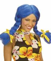 Originele blauwe dolly pruik dames carnavalskleding
