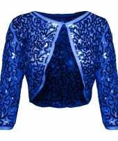 Originele blauwe glitter pailletten disco bolero jasje dames carnavalskleding