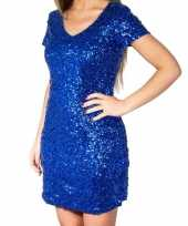 Originele blauwe glitter pailletten disco carnavalskleding dames