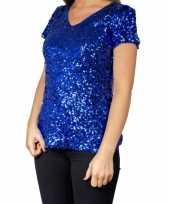 Originele blauwe glitter pailletten disco shirt dames carnavalskleding