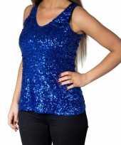 Originele blauwe glitter pailletten disco topje mouwloos shirt dames carnavalskleding