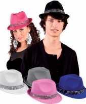 Originele blauwe hoedjes diamantjes carnavalskleding