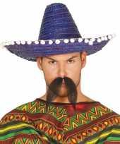 Originele blauwe sombrero mexicaanse hoed volwassenen carnavalskleding