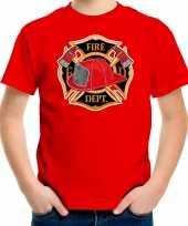 Originele brandweer logo t shirt carnavalskleding rood kinderen