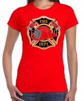 Originele brandweer logo verkleed t shirt carnavalskleding rood dames