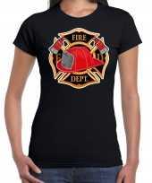 Originele brandweer logo verkleed t shirt carnavalskleding zwart dames