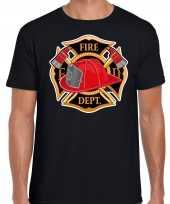 Originele brandweer logo verkleed t shirt carnavalskleding zwart heren