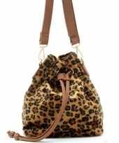 Originele bruin zwart luipaardprint schoudertasje bucket bag carnavalskleding
