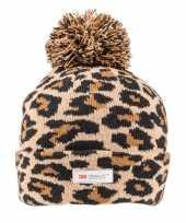 Originele bruine zwarte panterprint luipaardprint muts dames carnavalskleding