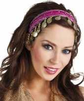 Originele buikdanseres hoofdband diadeem fuchsia roze dames verkleedaccess carnavalskleding