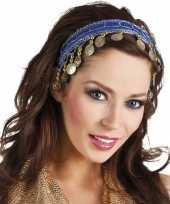 Originele buikdanseres hoofdband diadeem kobalt blauw dames verkleedaccess carnavalskleding
