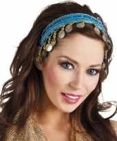 Originele buikdanseres hoofdband diadeem turquoise blauw dames verkleedacc carnavalskleding