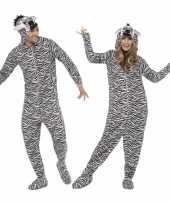Originele carnavalskleding zebra all one volwassenen