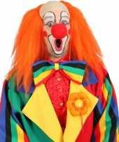 Originele clown pruik oranje kaal voorhoofd carnavalskleding