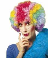 Originele clownspruik regenboog kleuren carnavalskleding