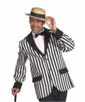 Originele colbert zwart wit gestreept heren carnavalskleding