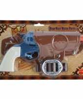 Originele cowboy revolver blauw compleet carnavalskleding