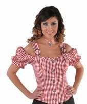 Originele cowgirl overhemd dames rood off shoulder carnavalskleding