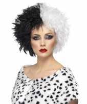 Originele cruella pruik dames carnavalskleding