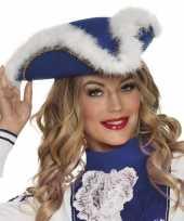 Originele dansmarietje blauwe hoed dames carnavalskleding