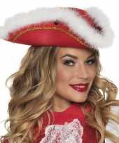 Originele dansmarietje rode hoed witte rand carnavalskleding