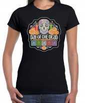 Originele day of the dead dag doden halloween verkleed t shirt carnavalskleding zwart dames
