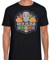 Originele day of the dead dag doden halloween verkleed t shirt carnavalskleding zwart heren