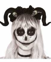 Originele diadeem tiara zwarte hoorns doodshoofden carnavalskleding