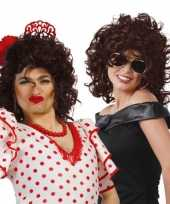 Originele donker bruine damespruik krullen carnavalskleding