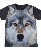 Originele donkergrijs t-shirt wolf kinderen carnavalskleding