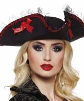 Originele driesteek carnavalshoed zwart rood carnavalskleding