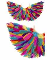 Originele engel verkleed vleugels regenboog veren carnavalskleding