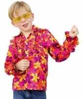 Originele flower power blouse rouche kids carnavalskleding