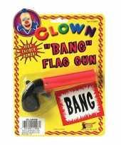 Originele fopartikelen pistool bang vlaggetje carnavalskleding