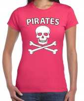 Originele fout piraten shirt foute party verkleed shirt roze dames carnavalskleding