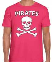 Originele fout piraten shirt foute party verkleed shirt roze heren carnavalskleding