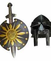 Originele gladiator set helm zwaard schild volwassenen carnavalskleding