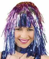 Originele glinsterende feestpruik gekleurd carnavalskleding